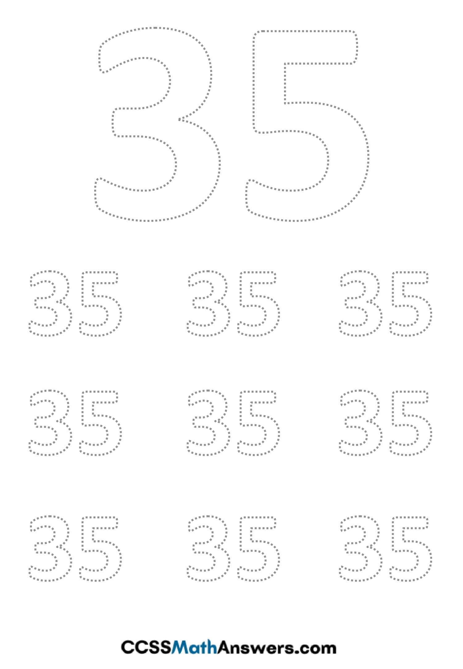 Worksheet on Number Thirty Five
