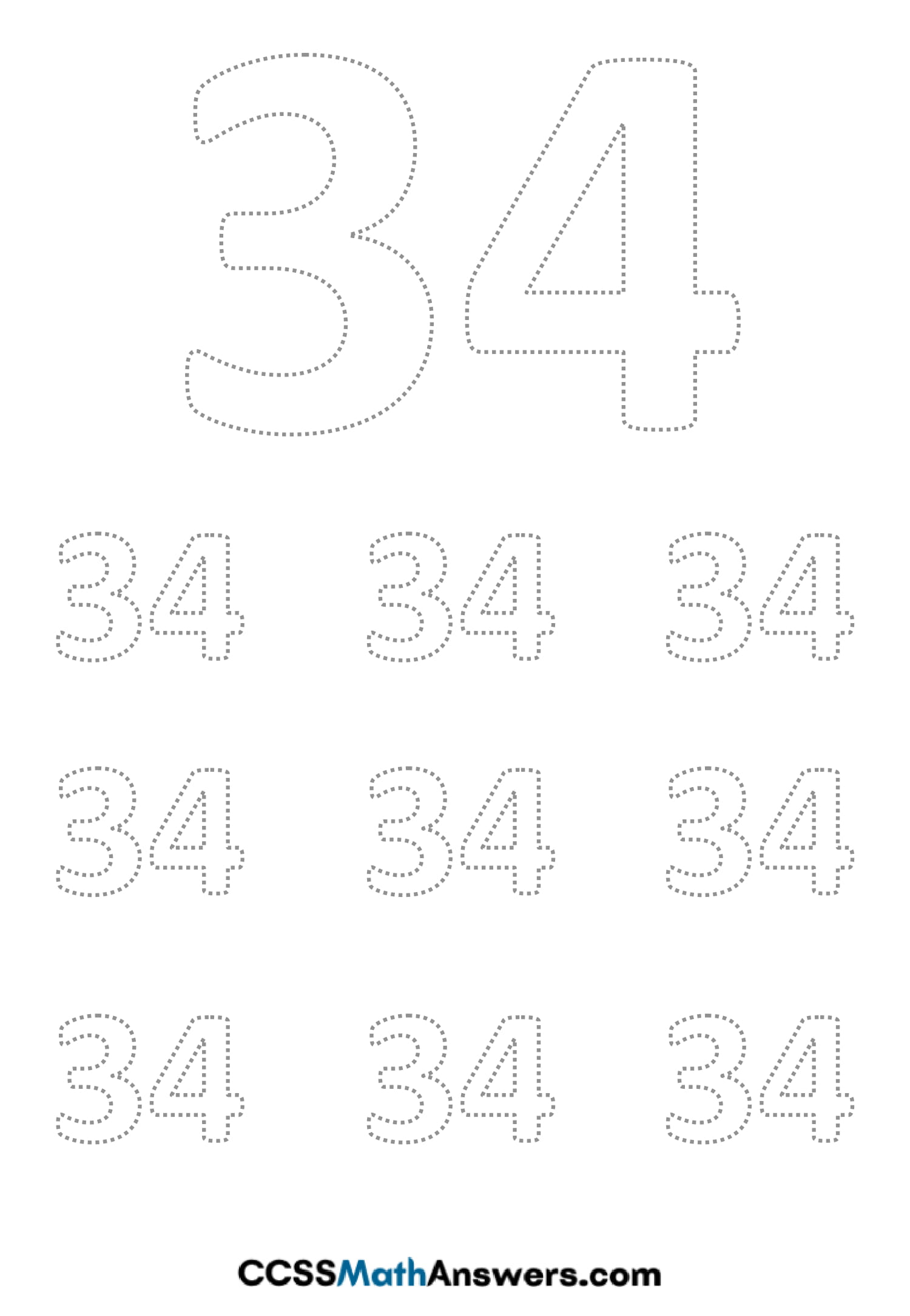 Worksheet on Number Thirty Four
