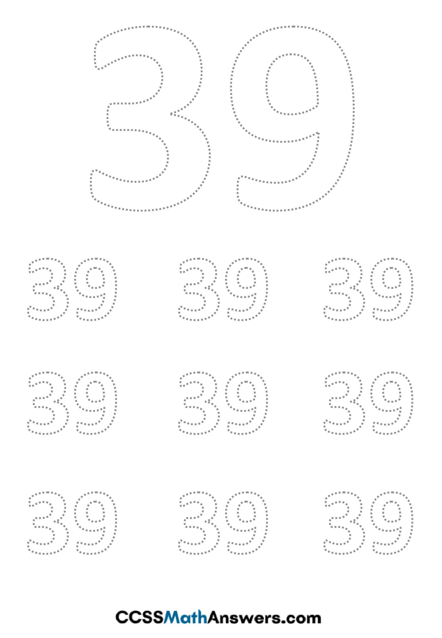 Worksheet on Number Thirty Nine