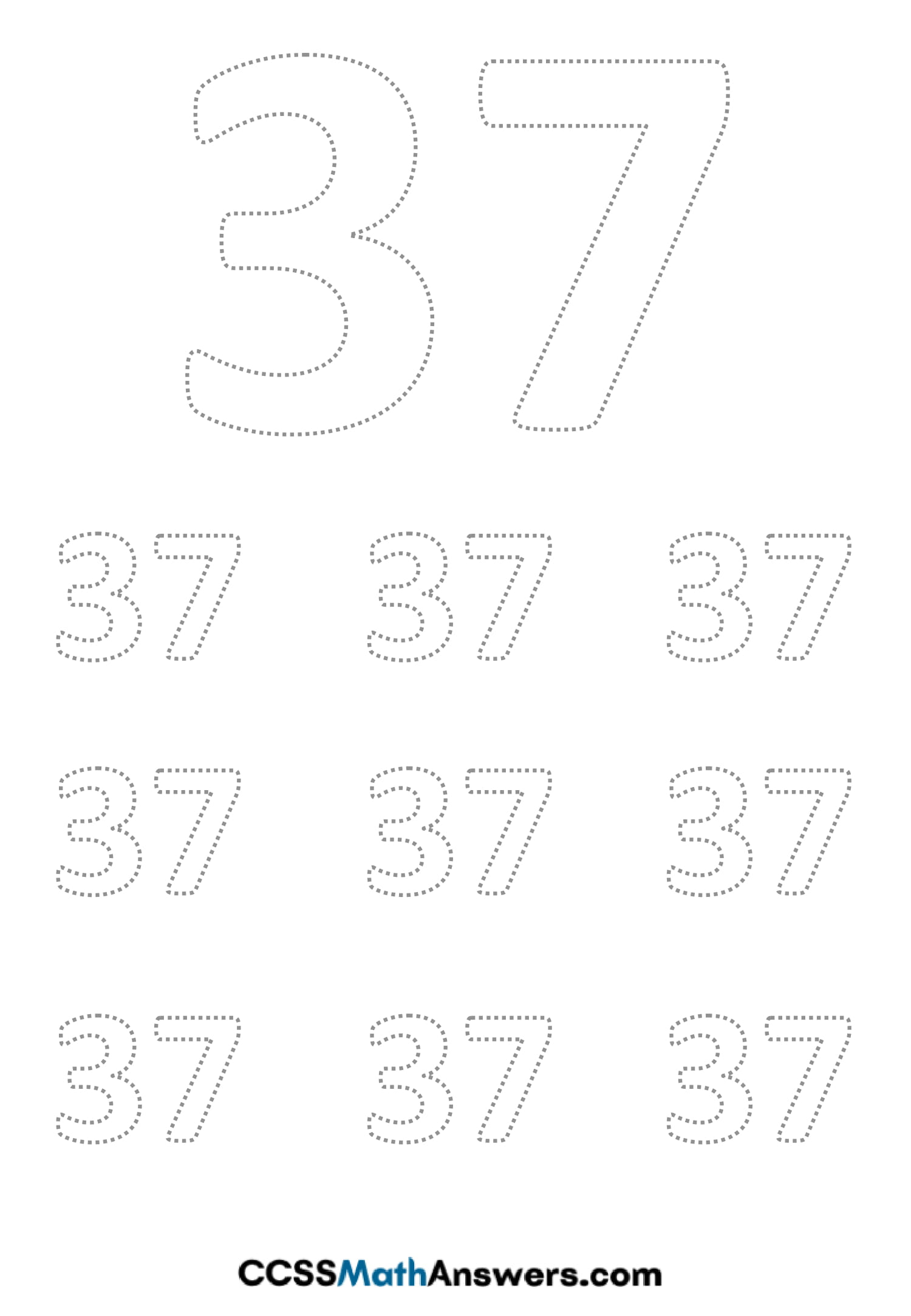 Worksheet on Number Thirty Seven