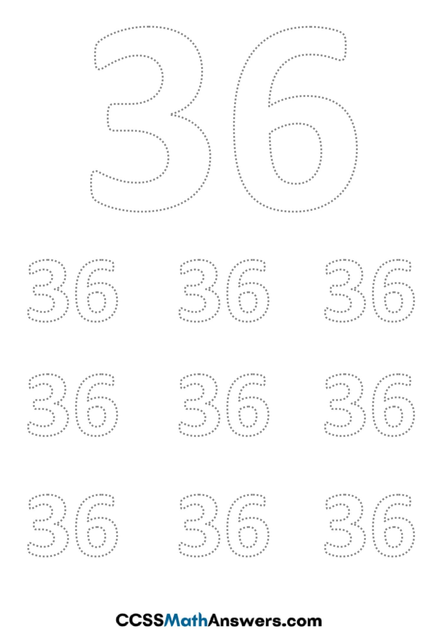 Worksheet on Number Thirty Six