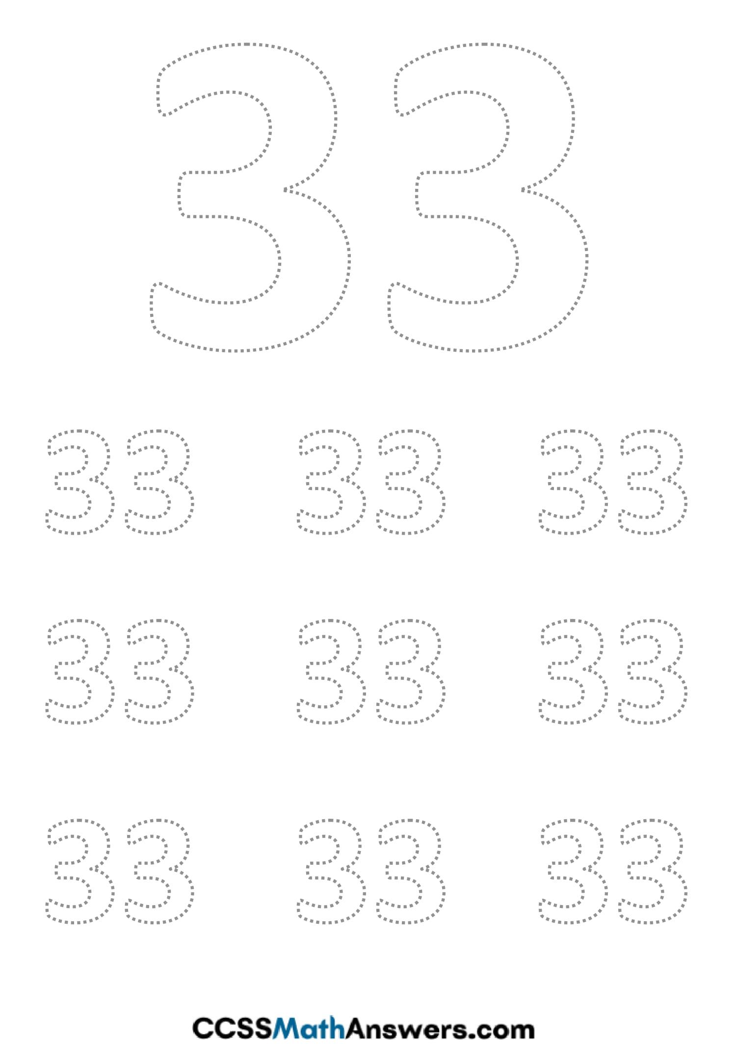 Worksheet on Number Thirty Three