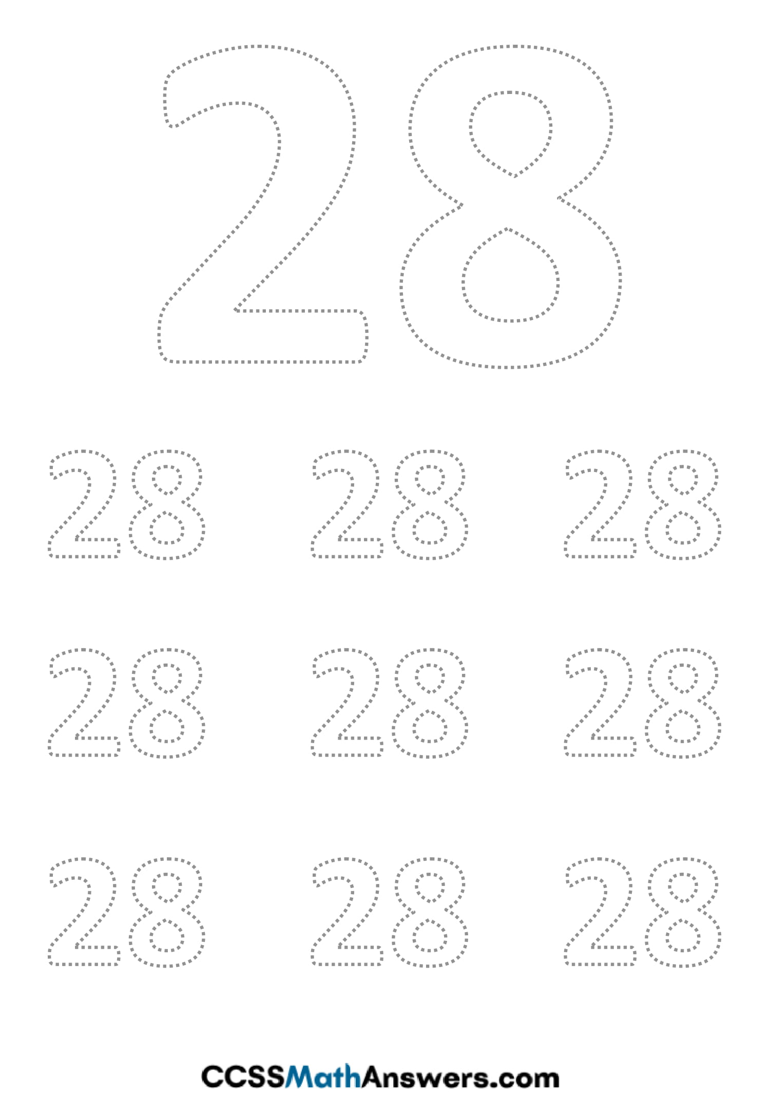 Worksheet on Number Twenty Eight