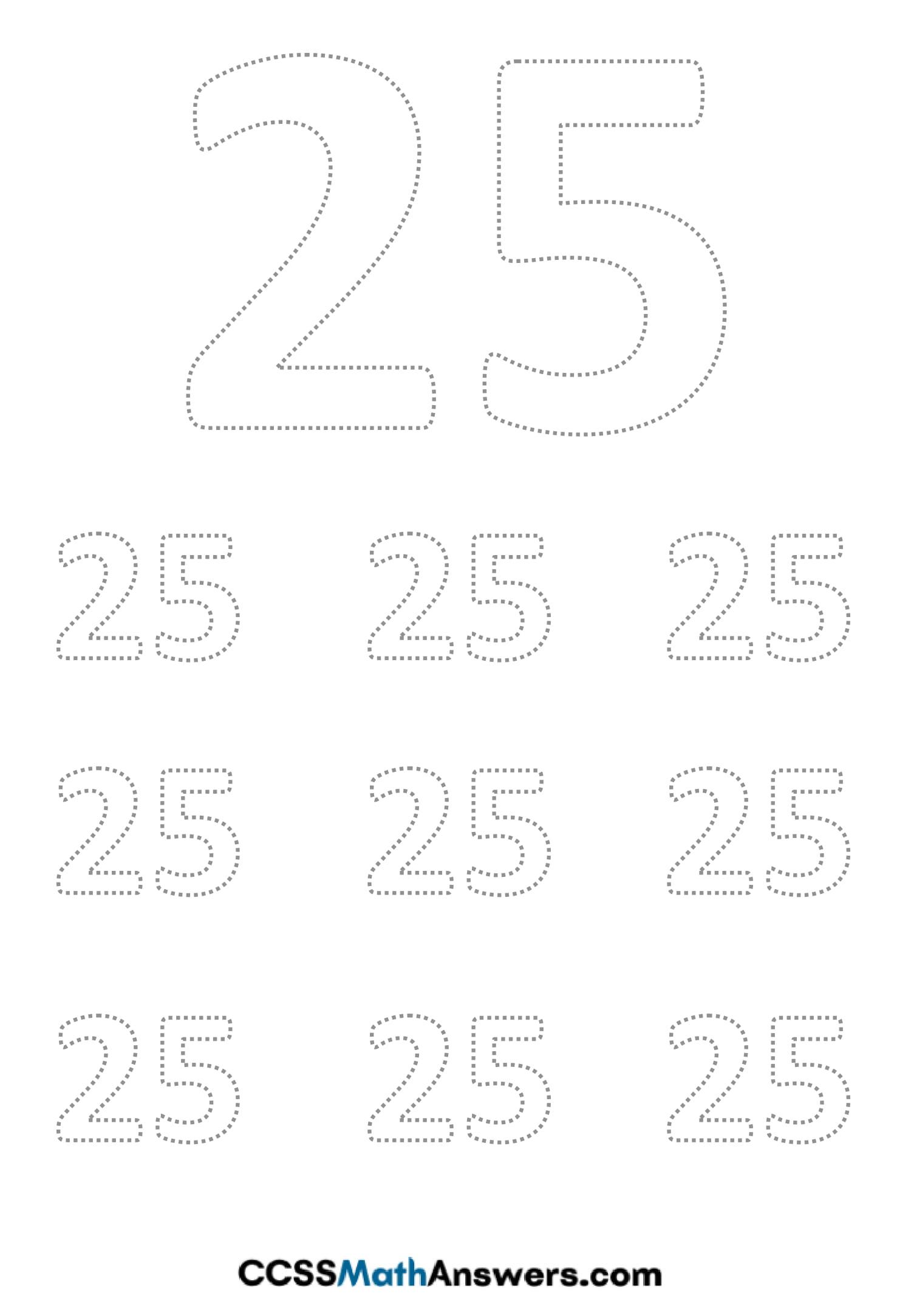 Worksheet on Number Twenty Five