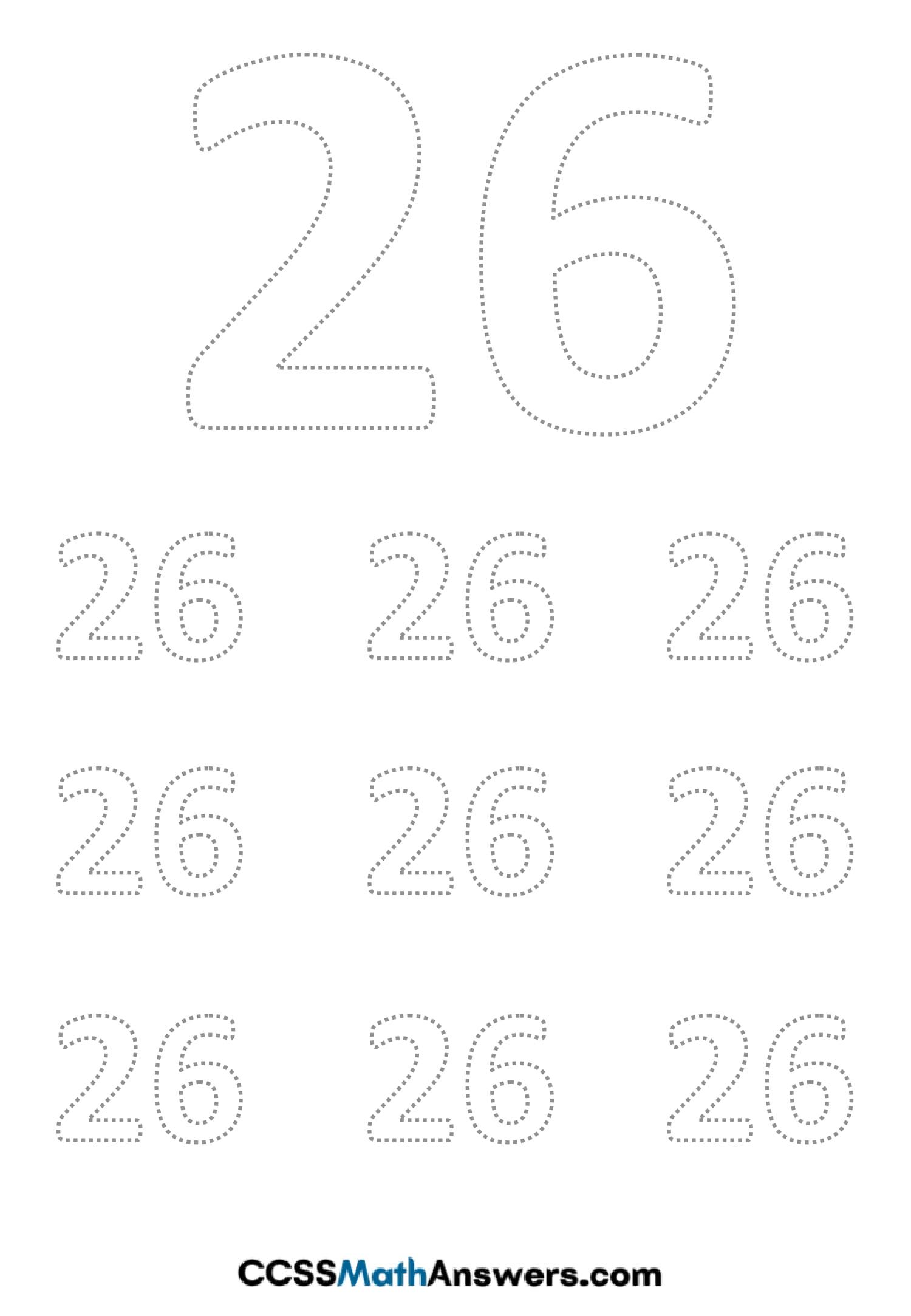 Worksheet on Number Twenty Six