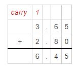 addition od decimals example 1