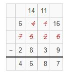 subtraction of decimals example 4