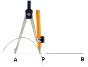 Construction of an angle by compass - step2