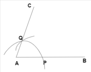 Construction of an angle by compass - step4