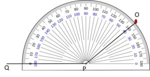 Example2 to draw an angle by protractor